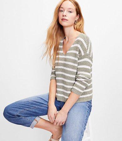 Striped Slouchy V-Neck Sweater