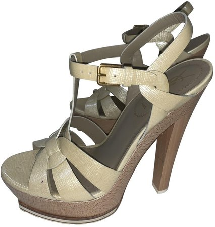 Beige Patent leather Sandals
