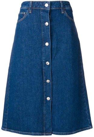 button detail denim skirt