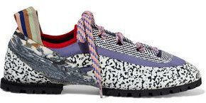 Sherpa Suede-trimmed Printed Leather And Rubber Sneakers