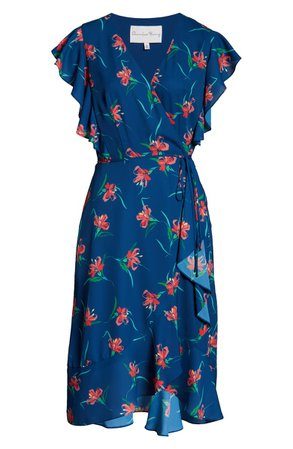Charles Henry Floral Ruffle Sleeve Faux Wrap Dress | Nordstrom