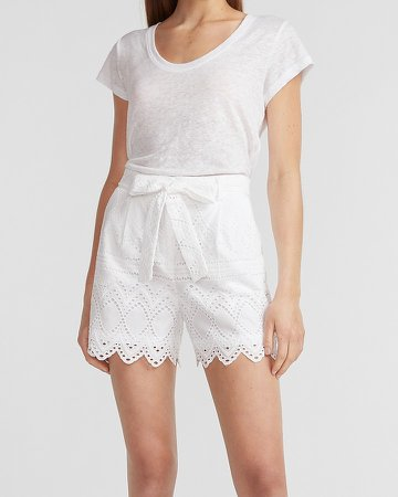 Super High Waisted Lace Belted Shorts