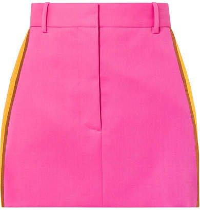 Striped Wool-twill Mini Skirt - Bright pink