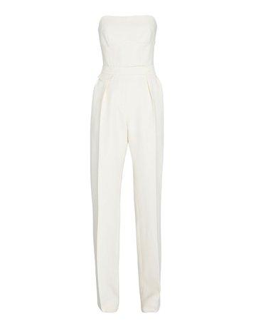 Brandon Maxwell Strapless Silk-Wool Twill Jumpsuit | INTERMIX®