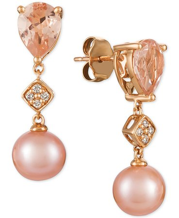 Le Vian 14k Rose Gold Peach Morganite, Pink Cultured Freshwater Pearl, and Diamond Accent Drop Earrings