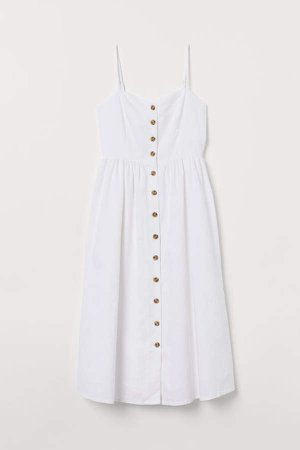 Linen-blend Dress - White