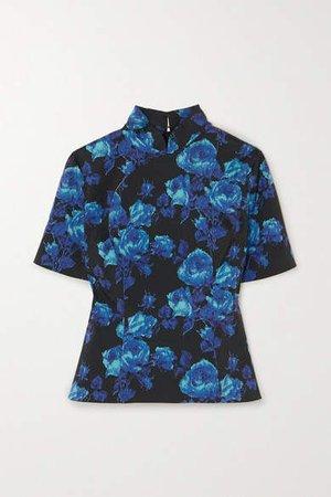 Floral-print Crepe Top - Blue