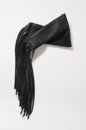 Black Fringe twisted intrecciato leather clutch | Bottega Veneta | NET-A-PORTER