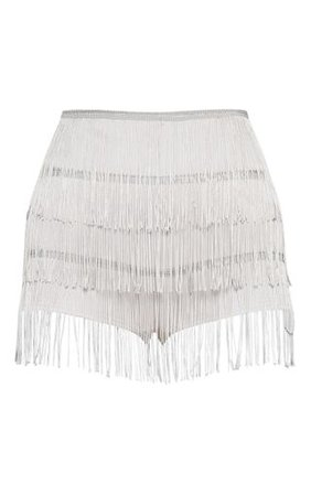 Silver Tirered Fringe Short | Shorts | PrettyLittleThing