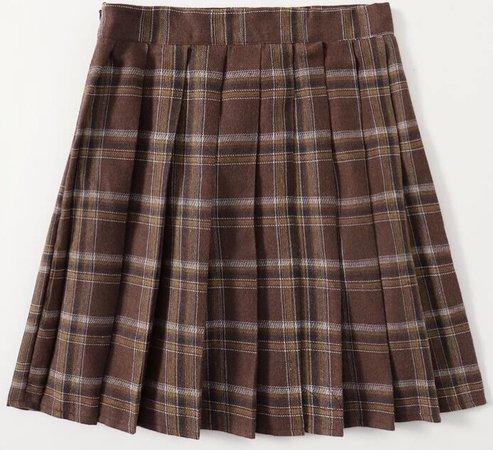 brown plaid skirt