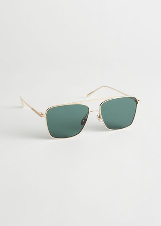 Square Frame Aviator Sunglasses - Gold - Sunglasses - & Other Stories
