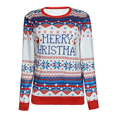 Women's Knit Sweater Pullover with Ugly Merry Christmas Letter Geometric Vintage Funny Merry Tunic - Limsea: Amazon.ca: Clothing & Accessories