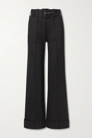 Belted Jersey Wide-leg Pants - Black