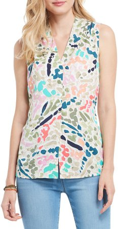 Color Splash Button-Up Sleeveless Top
