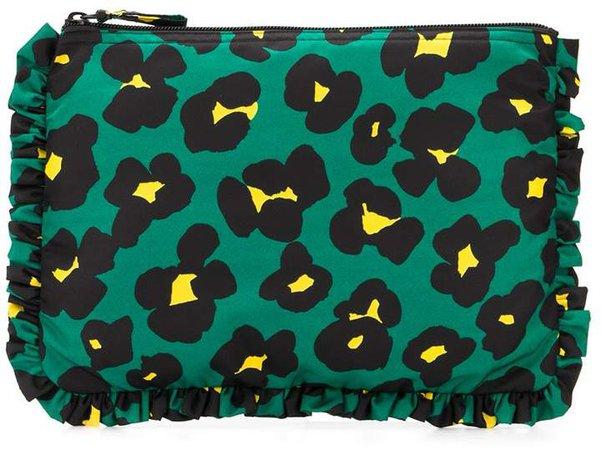 leopard print zipped clutch