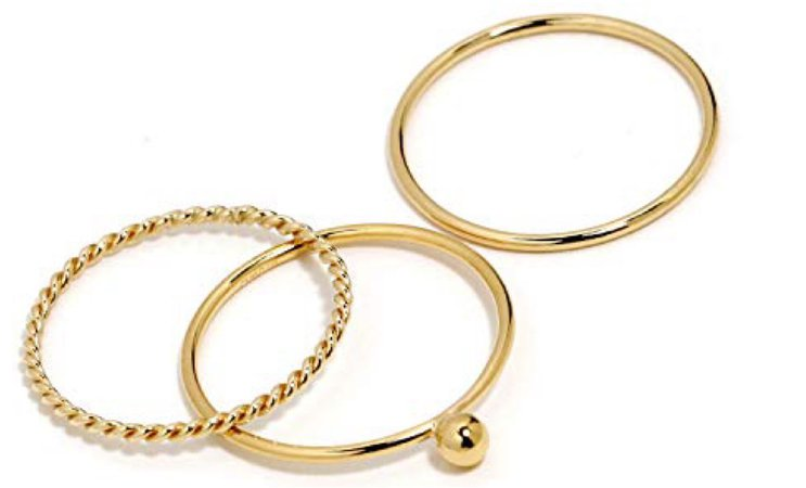 triple gold ring set