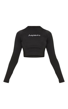 PRETTYLITTLETHING BLACK EMBROIDERED LONG SLEEVE CROP TOP