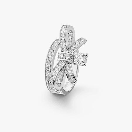Ruban ring - 18K white gold, centre diamond, diamonds - J3413 - CHANEL