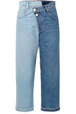 Monse | Two-tone distressed mid-rise straight-leg jeans | NET-A-PORTER.COM