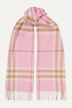 Pink Fringed checked cashmere scarf | Burberry | NET-A-PORTER