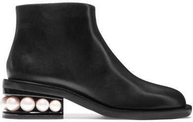 Casati Embellished Leather Ankle Boots - Black