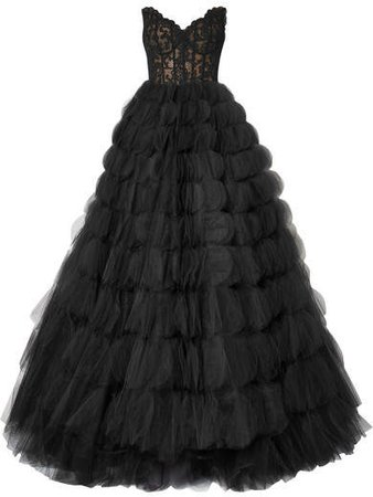 Strapless Corded Lace And Tulle Gown - Black