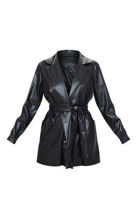 Petite Black Oversized Pu Wrap Blazer | PrettyLittleThing USA