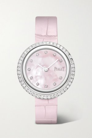 White gold Possession 34mm 18-karat white gold, alligator and diamond watch | Piaget | NET-A-PORTER