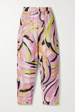 Printed Cotton-gauze Straight-leg Pants - Baby pink