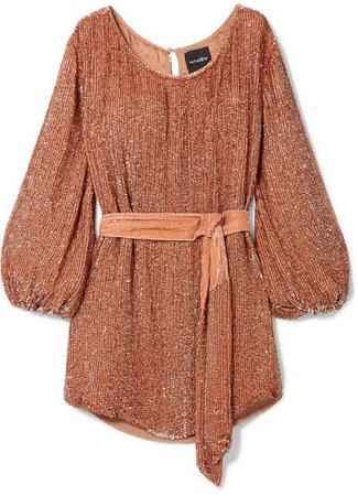 Retrofête - Grace Velvet-trimmed Sequined Satin Mini Dress - Pink