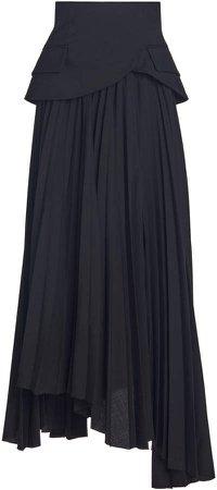 A.W.A.K.E. MODE Asymmetric Pleated Wool Midi Skirt
