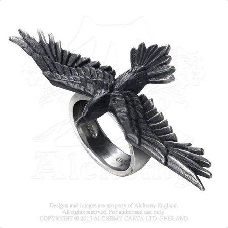 Alchemy Gothic Black Flying Raven Crow Consort Ring