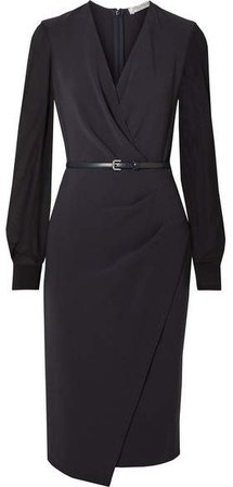 Manuel Wrap-effect Wool-blend Crepe And Silk-chiffon Dress - Navy