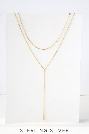 Gold Rhinestone Necklace - Layered Necklace - Sterling Silver