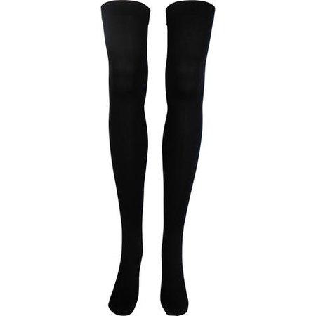 Solid Opaque Thigh High Socks in Black - Poppysocks