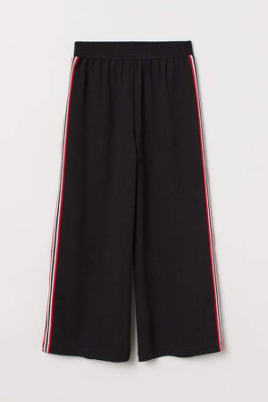 Wide-cut Pull-on Pants - Black