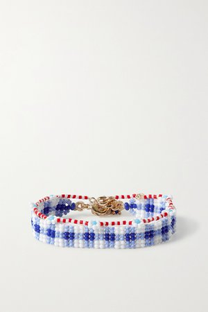 Blue Gingham and Daisy set of two beaded bracelets | Roxanne Assoulin | NET-A-PORTER