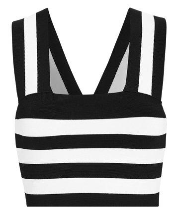 A.L.C. | Black and White Striped Crop Tank Top