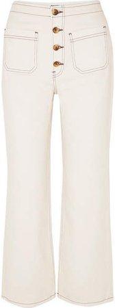 Eloise Cropped High-rise Bootcut Jeans - Ecru