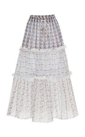 Liberty London Dina Mixed Byrony Printed Cotton-Voile Midi Skirt Size: