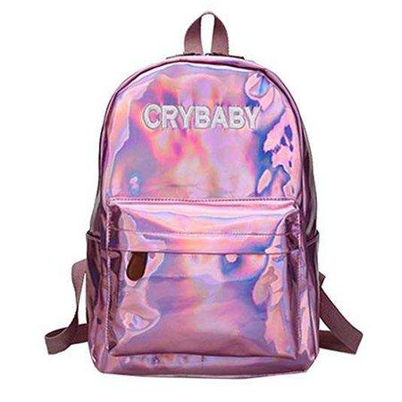 Amazon.com: Orfila Hologram Laser Backpack PU Leather Casual Daypack School Bookbag Fashion Travel Satchel Shoulder Bag,Pink: Shoes