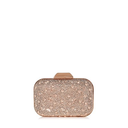 Rose gold crystal clutch