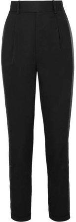 Striped Wool-twill Slim-leg Pants - Black