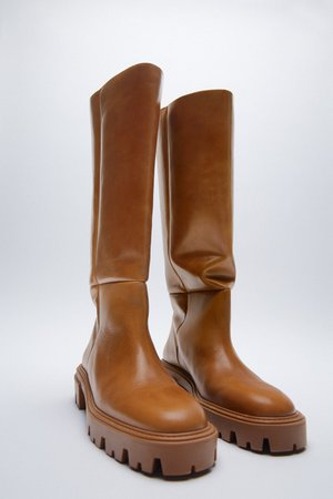 FLAT LEATHER BOOTS | ZARA United Kingdom