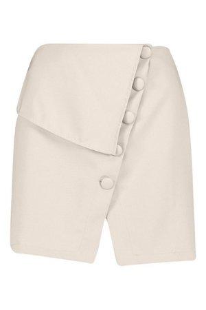Asymmetric Button Detail Skirt | Boohoo