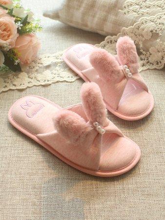 Fluffy Ear Flat Slippers
