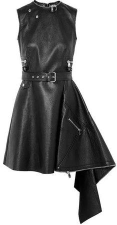 Asymmetric Textured-leather Mini Dress - Black