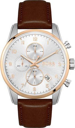 Skymaster Chronograph Leather Strap Watch, 44mm | Nordstrom