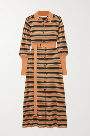 Belted Striped Wool-blend Midi Dress - Yellow