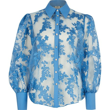 Blue floral organza sheer shirt   River Island